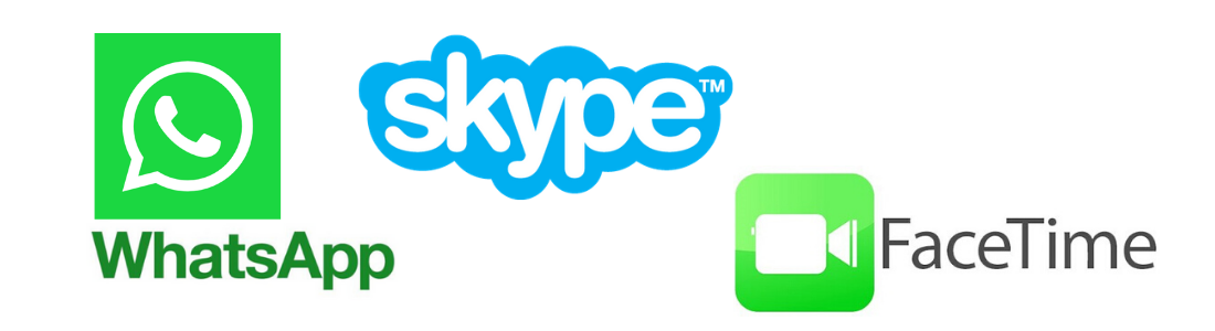 WhatsApp, Skype and FaceTime Logos