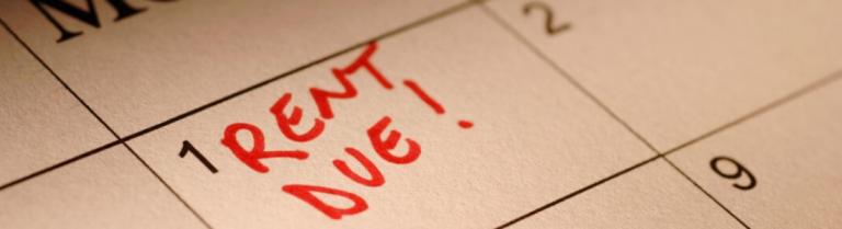 Rent Due written on calendar