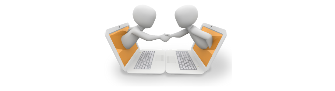 Figures emerging from computer screens and shaking hands