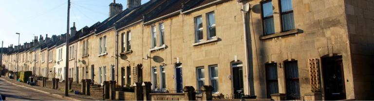 Row of terraced houses in Oldfield Park Bath