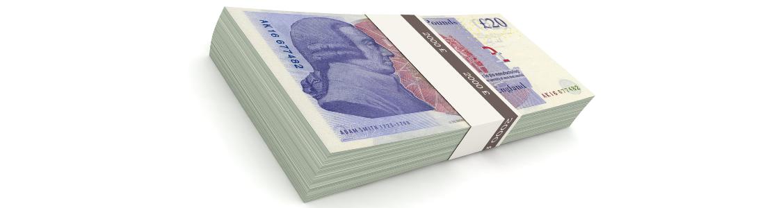 Bundle of twenty pound notes