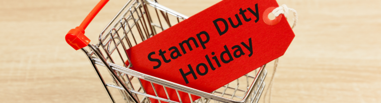 Stamp duty holiday luggage label in shopping trolley